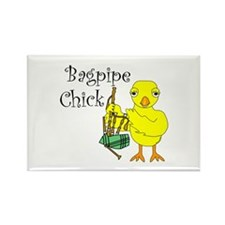 Bagpipe Chick Text Rectangle Magnet