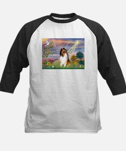 Cloud Angel & Collie Kids Baseball Jersey