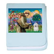 St Francis / Coton de Tulear baby blanket