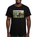 Rainbow Bright / Dachshund (w Men's Fitted T-Shirt