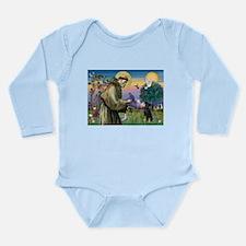 St. Francis & Min Pin Long Sleeve Infant Bodysuit