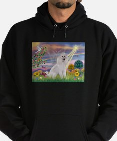 Cloud Angel White Poodle Hoodie