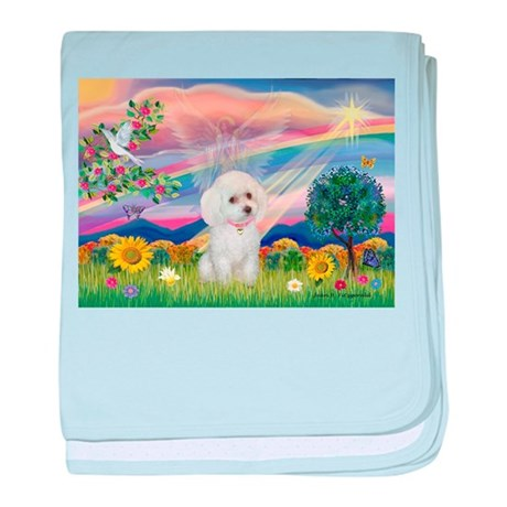 Cloud Angel & White Poodle baby blanket