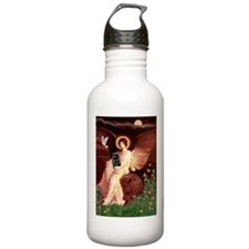 Seated Angel / Pug (blk) Water Bottle