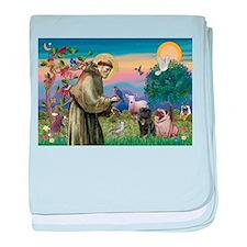 St. Francis & Pug Pair baby blanket