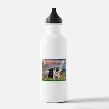 Cloud Angel & 2 Pugs Water Bottle