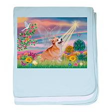 Cloud Angel Welsh Corgi baby blanket