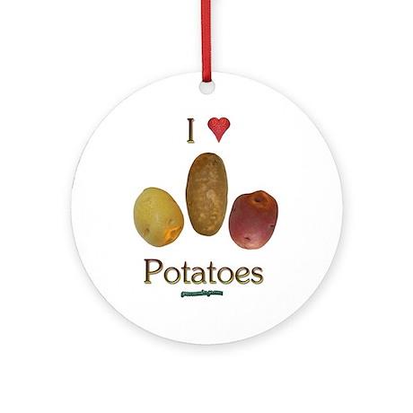 I Heart Potatoes Ornament (Round)