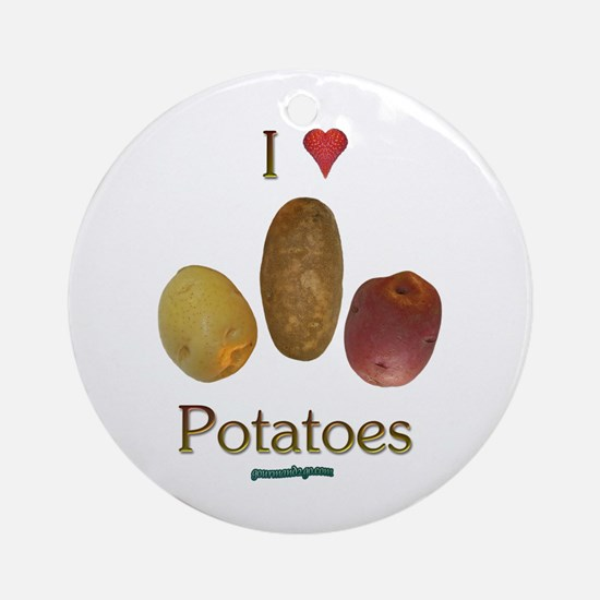 I Heart Potatoes Ornament (Round)
