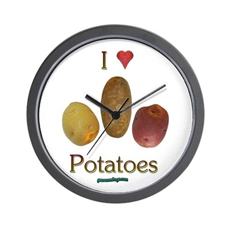 I Heart Potatoes Wall Clock