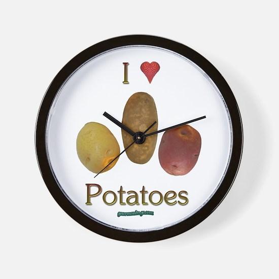 I Heart Potatoes Wall Clock