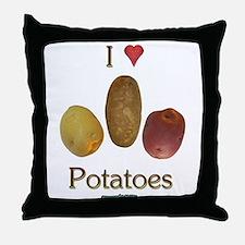 I Heart Potatoes Throw Pillow