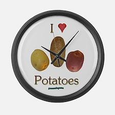 I Heart Potatoes Large Wall Clock