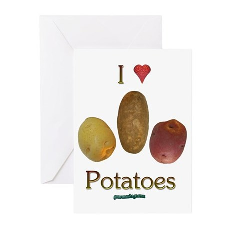I Heart Potatoes Greeting Cards (Pk of 20)