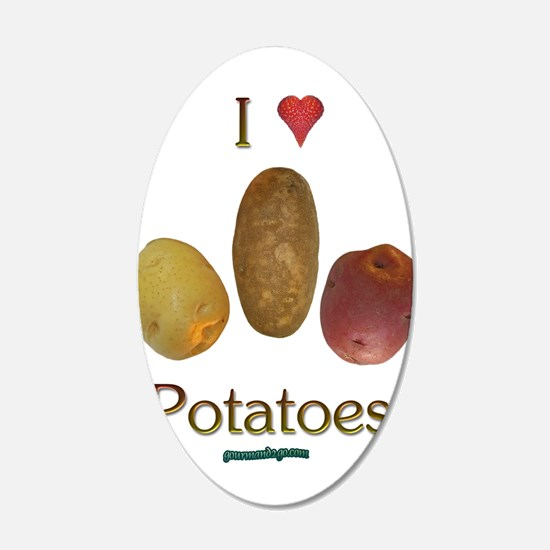 I Heart Potatoes 22x14 Oval Wall Peel