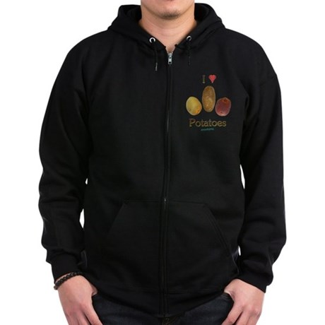 I Heart Potatoes Zip Hoodie (dark)