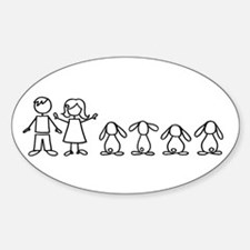 4 lop bunnies family Sticker (Oval)