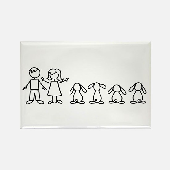4 lop bunnies family Rectangle Magnet