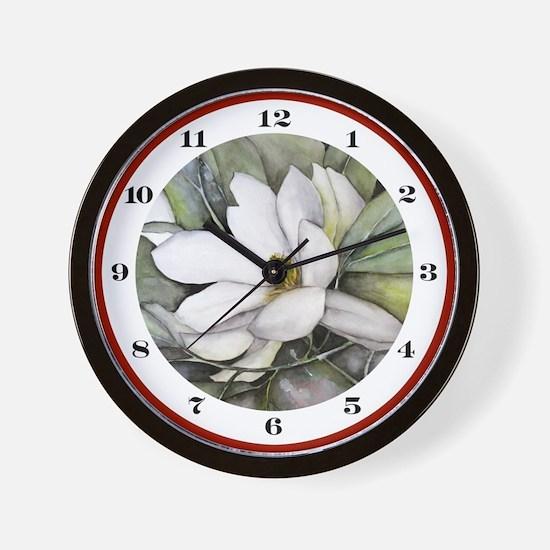 White Magnolia Watercolor Art Wall Clock