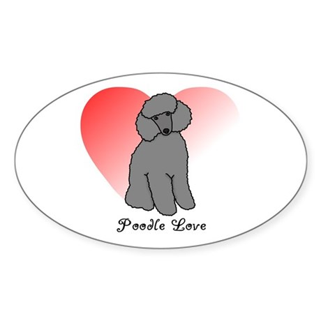 Poodle Love Oval Sticker