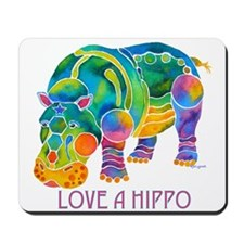 Colorful LOVE A HIPPO Mousepad