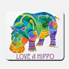 Colorful LOVE A HIPPO Mousepad
