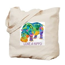 Colorful LOVE A HIPPO Tote Bag