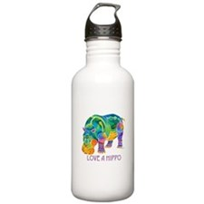 Colorful LOVE A HIPPO Water Bottle