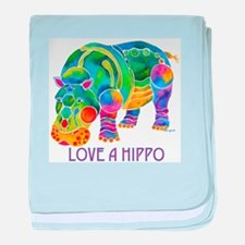 Colorful LOVE A HIPPO baby blanket