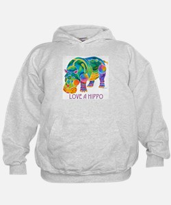Colorful LOVE A HIPPO Hoodie