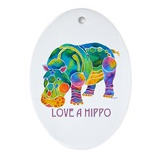 Colorful LOVE A HIPPO Ornament (Oval)