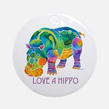 Colorful LOVE A HIPPO Ornament (Round)