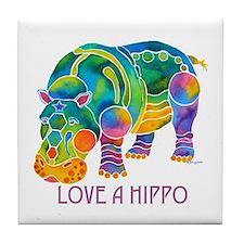 Colorful LOVE A HIPPO Tile Coaster