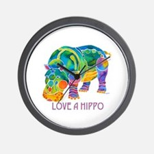 Colorful LOVE A HIPPO Wall Clock