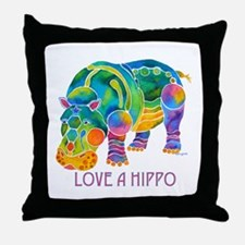 Colorful LOVE A HIPPO Throw Pillow