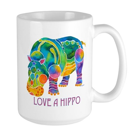 Colorful LOVE A HIPPO Large Mug