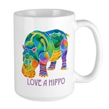 Colorful LOVE A HIPPO Mug