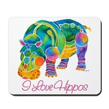 I Love Hippos of Many Colors Mousepad