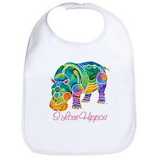 I Love Hippos of Many Colors Bib