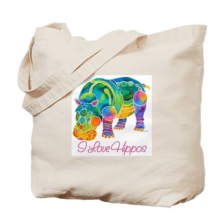 I Love Hippos of Many Colors Tote Bag