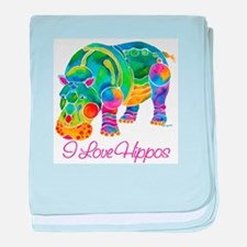 I Love Hippos of Many Colors baby blanket