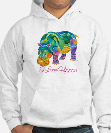 I Love Hippos of Many Colors Hoodie