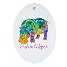 I Love Hippos of Many Colors Ornament (Oval)
