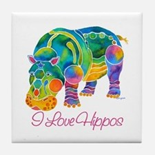 I Love Hippos of Many Colors Tile Coaster