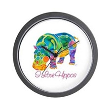 I Love Hippos of Many Colors Wall Clock