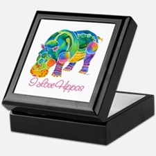I Love Hippos of Many Colors Keepsake Box