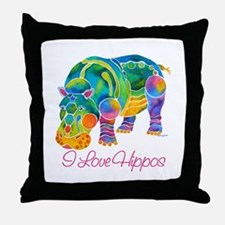 I Love Hippos of Many Colors Throw Pillow