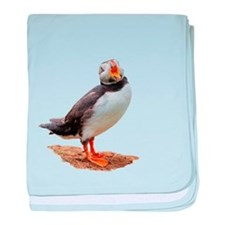 Funny Atlantic puffin baby blanket