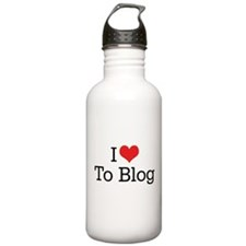 I Love To Blog 2 Water Bottle