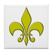 """Gold Fleur"" Tile Coaster"